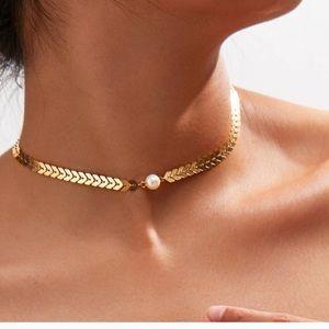 3/$30 Arrow Choker w/ Faux Pearl Necklace